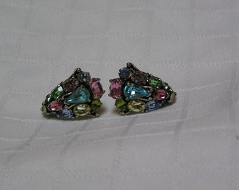 Hollycraft 1956 fruit salad pink, blue, citrine, aqua screw back earrings
