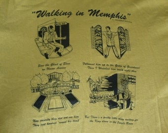Vintage ELVIS PRESLEY Walking In Memphis bright yellow T shirt XL