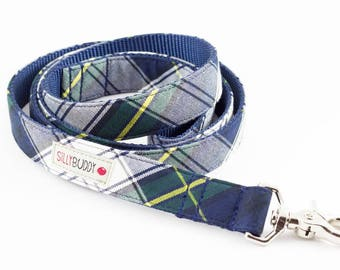 Navy Plaid Dog Leash