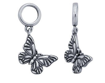 Sterling Silver Butterfly Charm for leather bracelets