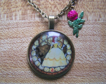 Beauty and the Beast Photo Cabochon with Rose Kids Adults