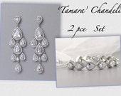 Teardrop Bridal Set, Chandelier Earrings & Bracelet Set, Bridal Jewelry Set, Crystal Wedding Jewelry Set, Clip On Earrings, Option, TAMARA