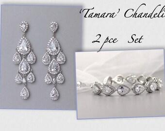 Bridal Jewelry Set, Chandelier Earrings & Bracelet Set, Bridal Jewelry Set, Crystal Wedding Jewelry Set, Clip On Earrings, Option, TAMARA