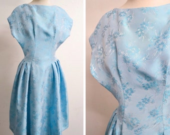 1950s Ice blue satin cocktail dress / 50s drop waist full skirt party dress - XXS XS