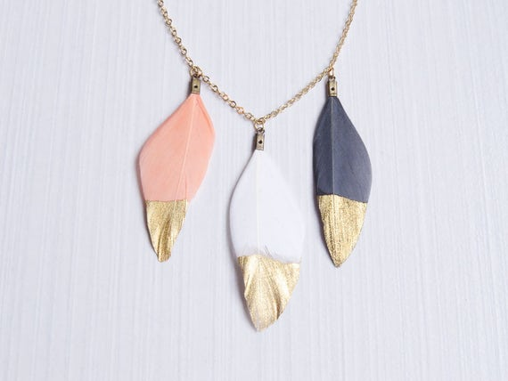 Blush Pink Feather Necklace | Dipped Gold Feather | White Feather Necklace | Gold Dipped Feathers | 3 Dipped Gold Feather Necklace |