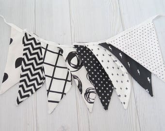 Black and white banner , fabric banner , black and white decor