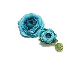 Artificial Flowers - TURQUOISE Ranunculus - Bud to Bloom, Wedding Flowers, Silk Flowers