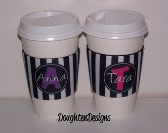 Personalized Coffee Sleeve, Coffee Cup Sleeve, Reusable Neoprene Beverage Holder, Monogram Coffee Sleeve,  Reusable Cup Insulator