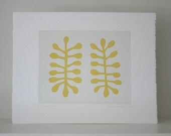 Matisse inspired, original abstract screenprint. Yellow, leaf motif. Gift idea art print by Emma Lawrenson