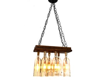 "RUSTIC - ""Aranya"" - Reclaimed Barn Wood and Wine Bottle Chandelier - 100% RECYCLED"