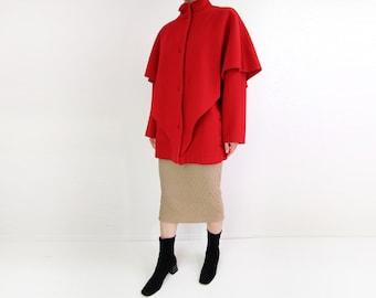 VINTAGE Red Coat 1980s Batwing Wool