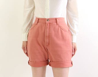 VINTAGE Pink Denim Shorts 1980s High Waist Jeans