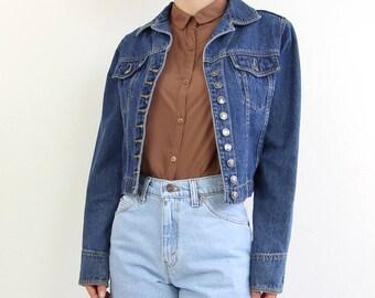 VINTAGE Denim Jacket Cropped Button Up