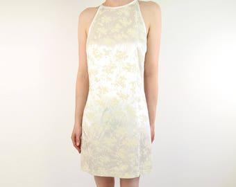 VINTAGE Ivory Mini Dress 1990s Short Velvet