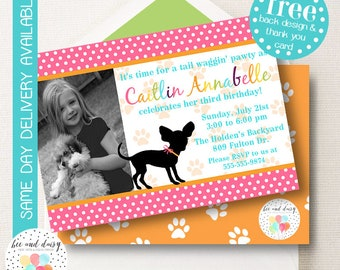 Girls Puppy Invitation, Puppy Birthday Invitation, Puppy Party, Girl First Birthday, Girl Birthday, Puppy Invite, Puppy Pawty, Photo Invite