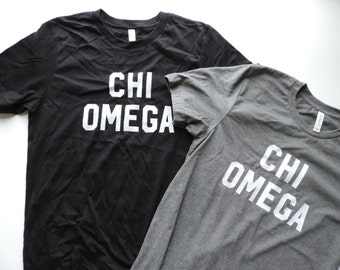 New Chi Omega Basic Graphic Tees Shirt // Sizes S-2XL // YOU PICK COLOR