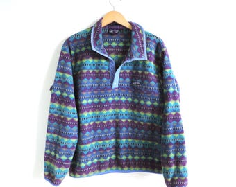 Vintage Patagonia Blue & Purple Tribal Aztec Fleece Pullover // Size LARGE