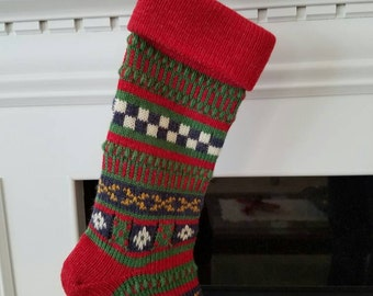 Vintage Knit Wool Christmas Stocking Green Red White Blue