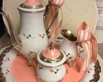 """Vintage """"Peaches & Cream"""" Silver Tea Set/Custom Painted"""
