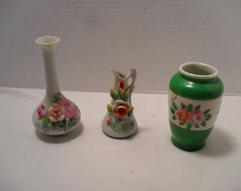 Occupied Japan MINIATURE VASES lot of 3 Mini Flower Bud Glass Porcelain - Instant Collection