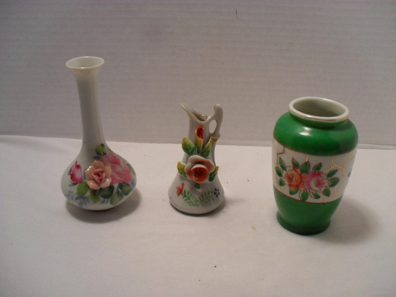 Occupied Japan Miniature Vases Lot Of 3 Mini Flower Bud Glass