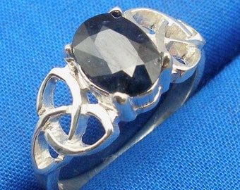 Blue Sapphire Celtic Triskel Ring, Hand Crafted Recycled Sterling Silver, September Birthstone