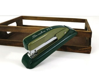 Vintage Swingline 77S Stapler, Two Tone Green