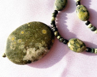 Beaded 2 Strand Rhyolite and Kambara Jasper Necklace with Rhyolite Pendant