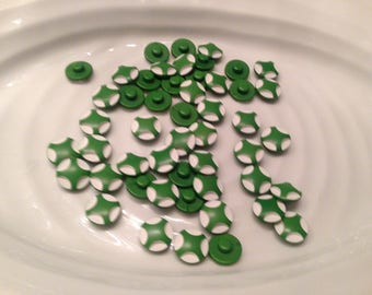 All the same button - 50 vintage green with white carved shank buttons