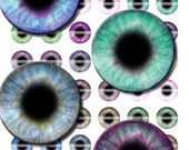 25mm Colorful Pastel Round Human Eye Designs Digital Collage Sheet for Jewelry Making Sculptures or Scrapboooking