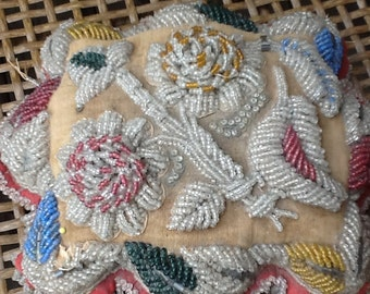 Vintage souvenir beaded pincushion