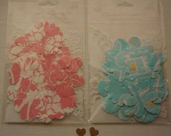 CLEARANCE* 60% off ~ Prima Flowers ~ Canvas Petals - Blue & Pink ~ *Cards *Scrapbooking *Crafts
