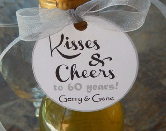 "Anniversary Kisses & Cheers 2"" Custom Favor Tags - For Mini Wine, Champagne or Liquor Bottles - Mason Jar Favors - (50) Printed Tags"