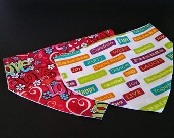 Love bandana, graffiti bandanna, floral bandana, words bandana,  slip on bandana, over collar bandana