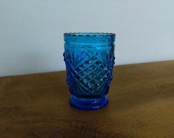 Vintage Blue Glass Toothpick Holder