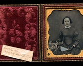 1/6 Daguerreotype Identified Woman Holding Fan, Books