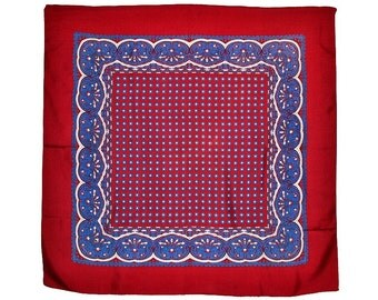 Vintage Silk Scarf Classic Burgundy & Blue Paisley Preppy Design 30 x 30 inches Near Mint Condition