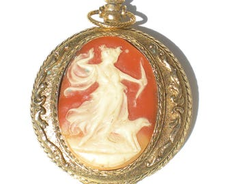 Vintage Cameo Compact with Ornate Gold Brass and Female Ethereal Archer Hunter & Dog - Vintage Cosmetics Pocket Watch Style