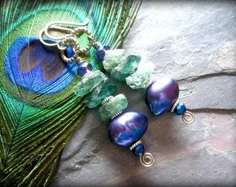 Seafoam Green Raw Rough Apatite Earrings, Lustrous Peacock Plum Freshwater Pearl Earrings, Rustic Natural Genuine Gemstone Drop Earrings