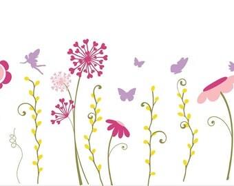 """Flower Garden sized tallest flower 30"""" tall, flower wall decals, flower garden wall decal, flower wall mural,"""