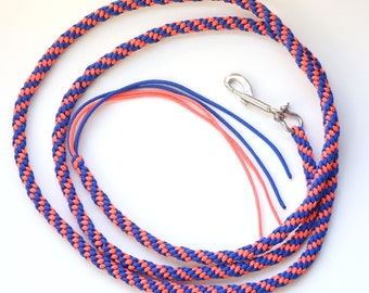In Stock Sale Horse Lead Paracord Round Royal Blue and Orange Rope 9/16 inch Round and 8 feet Long