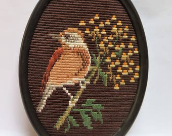 Finished  Embroidery Bird Sitting on Flowering branch Hand Stitched Oval Frame