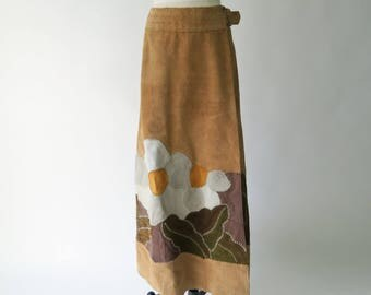 1970s Hand-Made Suede Maxi Skirt / Boho Leather Skirt