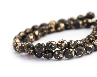WE'RE BACK! Matte Jet Black Gold Fleck Czech Glass Rounds, Spacer Beads, Fire Polished, 6mm x 25pc (0012)