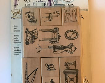 Sewing Room Stamp Set  --   NEW  -- Wood Mounted Stamps --  Sewing (2245)