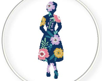 Instant download,Free shipping,Cross stitch , Crossstitch PDF/JPEG,vintage  floral lady balletgirl,cross stitch pillow pattern,zxxc0980