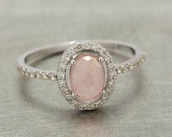 White Gold Rose Quartz Engagement Ring With Diamonds