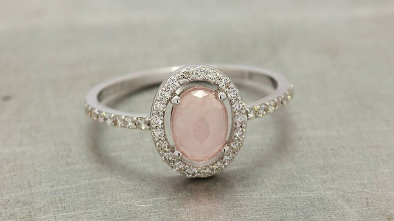 White Gold Rose Quartz Engagement Ring With Diamonds