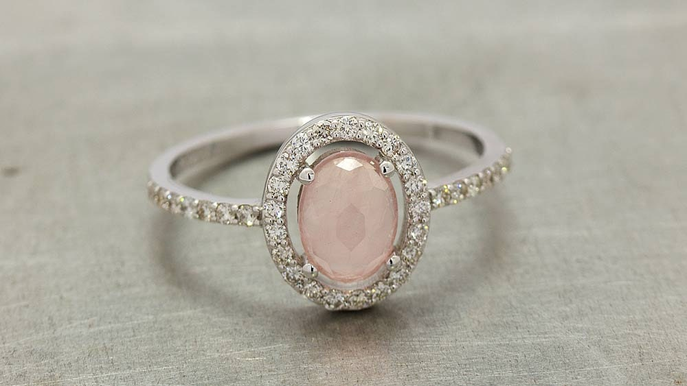 Vintage diamond rose quartz engagement ring in 18k white gold for Quartz wedding rings