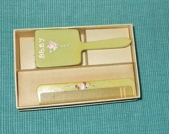 Vintage 1940's or 1950's Baby Hairbrush and Comb Set-Pale Green with Painted Flowers-Soft Bristles